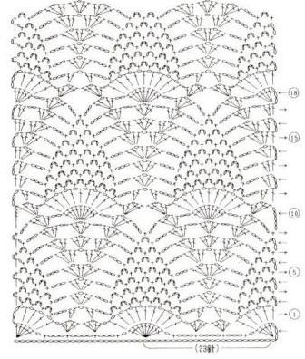 схема узор ананас крючком.